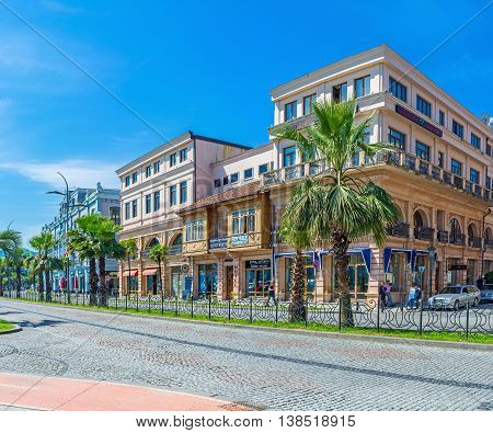 BATUMI GEORGIA - MAY 25 2016: The central tourist street with the old houses and numerous taverns bars restaurants wine houses stores and art galleries on May 25 in Batumi.
