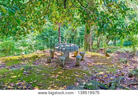The stone table and chairs in shade of trees is the best place to relax during the visiting of Botanical Garden Batumi Georgia.