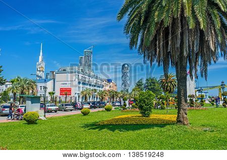 BATUMI GEORGIA - MAY 25 2016: The city boasts numerous gardens and shady parks located adjacent to the urban areas on May 25 in Batumi.