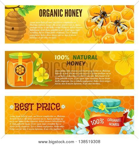 Three horizontal honey banner set with descriptions of organic honey natural honey vector illustration