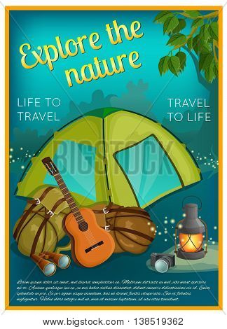 Exploration of nature poster with camping outfit guitar camera green branch on night forest background vector illustration