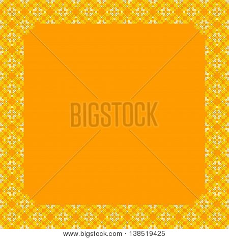 Frame yellow and orange patterns on canvas abstract embroidery