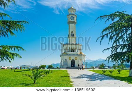 BATUMI GEORGIA - MAY 25 2016: The Chacha Tower is famous for its fountain pools for ten minutes every day the fountains spout Chacha strong Georgian alcohol on May 25 in Batumi.