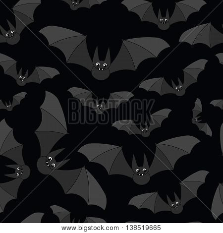 Background on Halloween with cute cartoon grey bats on black background