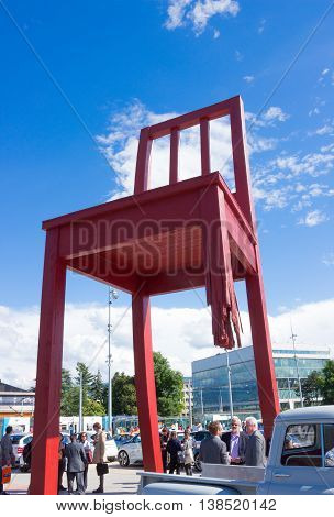 GENEVA SWITZERLAND - JUNE 17 2016: The gigantic Broken Chair symbol of the fight against landmines