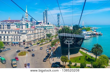 BATUMI GEORGIA - MAY 25 2016: The modern building of lower station of Argo Cable Car located on the coastline and neighbors with the old town landmarks on May 25 in Batumi.