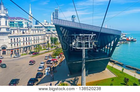 BATUMI GEORGIA - MAY 25 2016: The lower station of Argo Cable Car located in Gogebashvili Street on May 25 in Batumi.