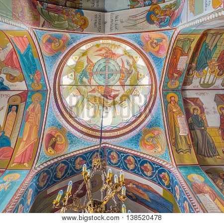 TBILISI GEORGIA - MAY 28 2016: The murals on cupola of Upper Bethlehem Church located in the old town on May 28 in Tbilisi.