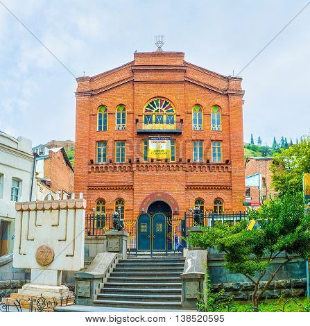 TBILISI GEORGIA - MAY 28 2016: The Great Georgian Synagogue located in Leselidze Street was built by Jews from Akhaltsikhe migrated to the capital on May 28 in Tbilisi.