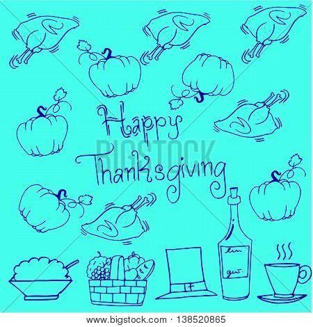 Thanksgiving doodles pumpkin chicken vector art illustration