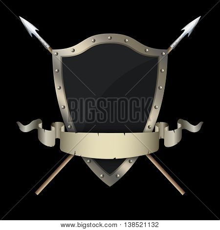 Medieval riveted shield with two swords and old torn ribbon on black background.