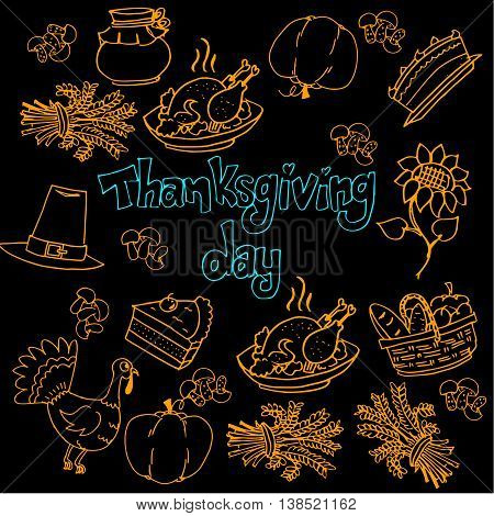 Doodle of Thanksgiving hand draw oon black backgrounds