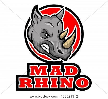 A vector illustration of angry rhinoceros .