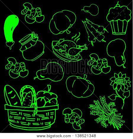 Thanksgiving day vegetable doodles on black backgrounds