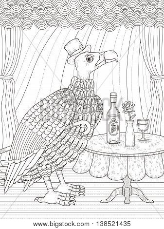 condor gentleman with wine - adult coloring page