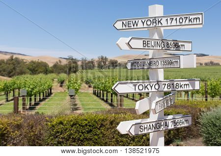 Direction and distance to cities of the world from Australian vineyard