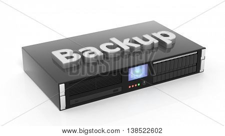 3D rendering of server storage rack with Backup text , isolated on white background.