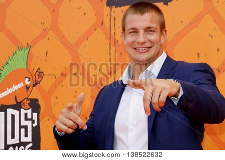 Rob Gronkowski at the Nickelodeon Kids' Choice Sports Awards 2016 held at the UCLA's Pauley Pavilion in Westwood, USA on July 14, 2016.
