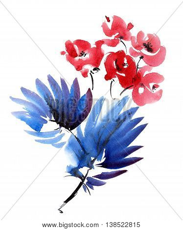 Red flowers and dark blue leaves bouquet. Watercolor and ink painting in style gohua sumi-e u-sin. Oriental traditional painting.