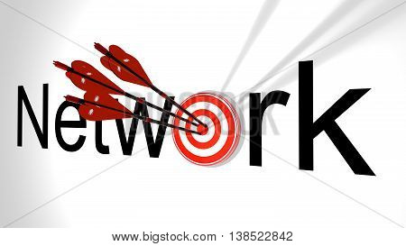 Three black arrows with a virus bug texture hitting the word network where the letter o is replaced by a circular target 3D illustration cybersecurity concept