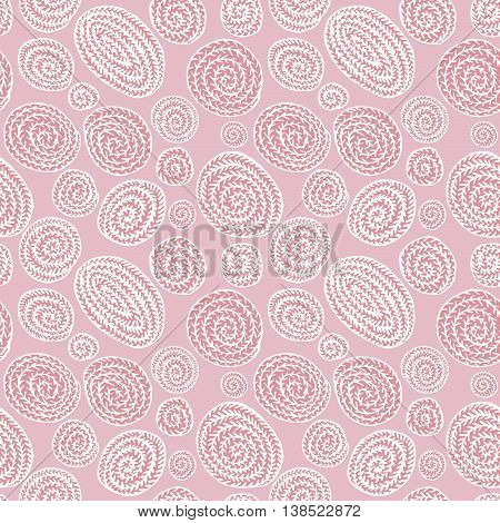 Vector doodle pink abstract round seamless pattern