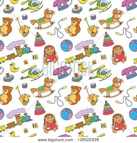 Seamless vector pattern with toys for children
