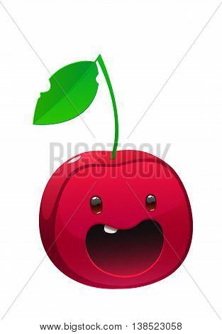 Bright juicy delicious cherry cartoon happy face