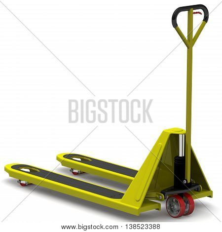 Pallet jack. Yellow pallet jack on a white surface. Isolated. 3D Illustration