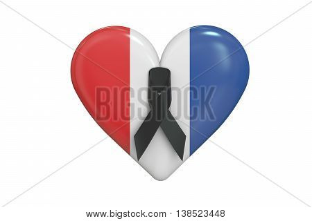 Pray for Nice concept with heart 3D rendering isolated on white background