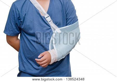 A man with his broken left arm