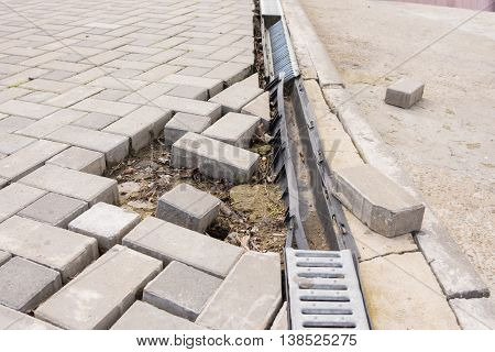The Destruction Of The Pedestrian Walkway Of Paving With Drainage And Concrete Road