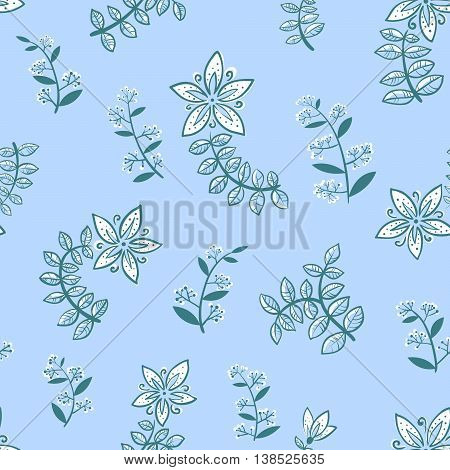 Doodle minimalistic floral seamless background with flowers and leaves