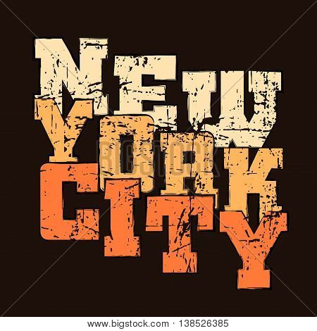 T shirt typography graphics New York. Athletic style NYC. Fashion american stylish print for sports wear. Black grunge emblem. Template for apparel card poster. Symbol big city. Vector illustration