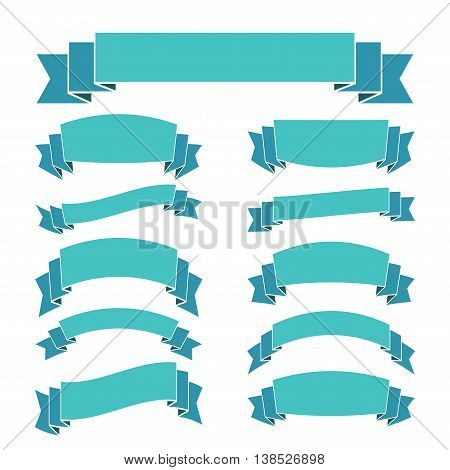Blue ribbon banners set. Beautiful blank for decoration graphic. Old vintage style Flat design. Premium decorative elements isolated on white background. Template collection labels Vector illustration