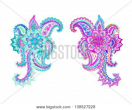 colorful isolated paisleys with flowers and lace. Hand drawn watercolor decor motives. Traditional indian design elements