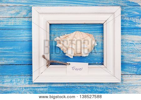 Sea Shell In The Frame With Sign - Travel