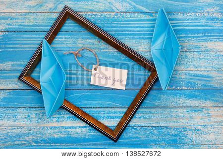 Sign Thank You With Photo Frame. Vocation Background