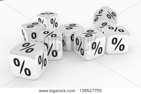 Dice with percent signs. 3D rendering image.