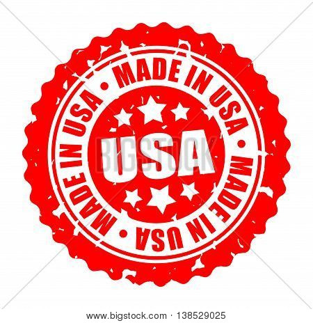 Vector illustration round stamp MADE IN USA isolated on white background