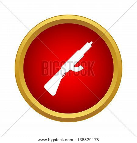 Assault rifle with silencer icon in simple style on a white background