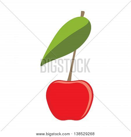 Vector illustration ripe red cherry berrie with leave. Cherry flat vector icon