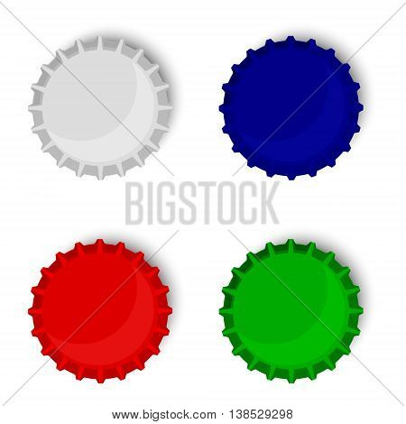 Vector illustration bottle cap collection blue red green and metallic. Beer bottle cap top view
