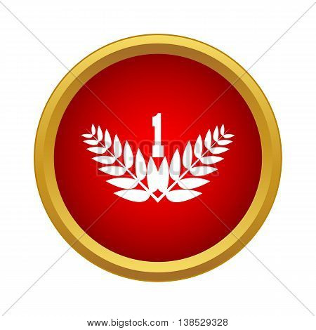 First place with laurel branches icon in simple style on a white background