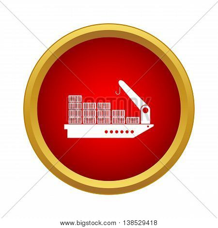 Cargo ship icon in simple style on a white background