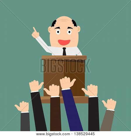Cartoon businessman giving presentation at a podium with thumbs up Rhetoric Oratory lecturer business seminar. vector illustration.