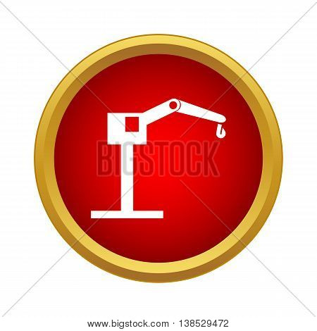 Hoisting crane icon in simple style on a white background
