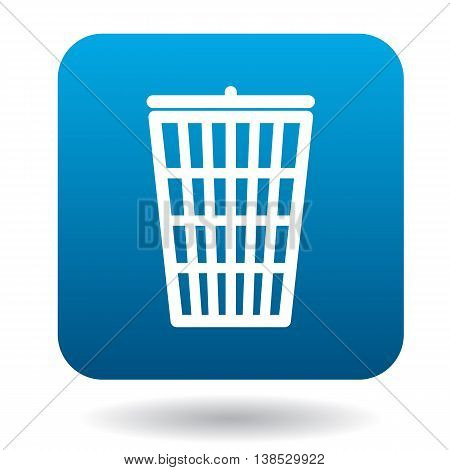 Trash can with lid icon in simple style on a white background