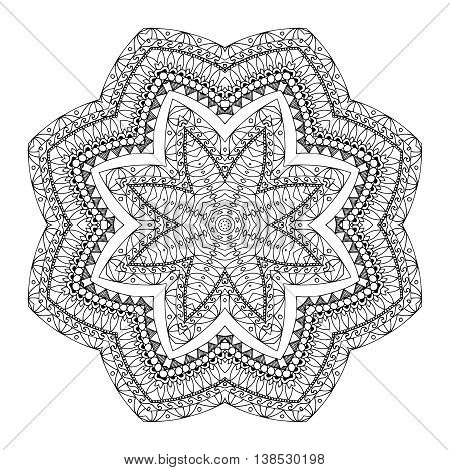 Vector illustration Zen Tangle, flower mandala. Doodle drawing. Coloring book anti stress for adults. Black and white.