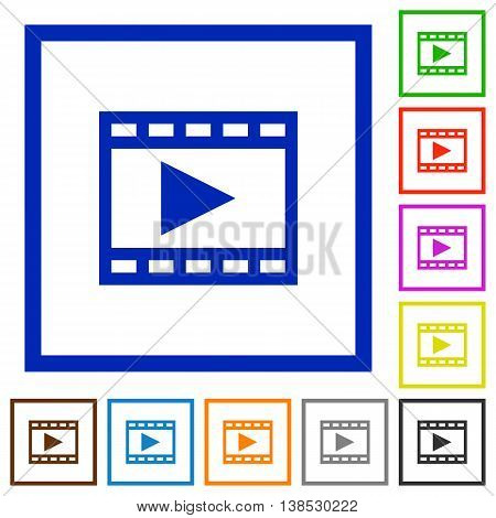 Set of color square framed Play movie flat icons
