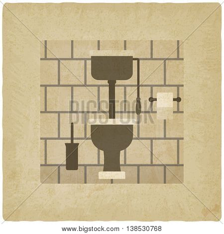 interior with high tank toilet bowl old background. vector illustration - eps 10